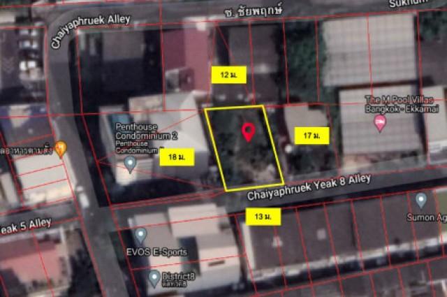 ขายที่ดิน ซอยสุขุมวิท 65 (ซ.ชัยพฤกษ์) 63 ตรว. ห่างปากซอยสุขุมวิท 700 เมตร เหมาะสร้างบ้าน