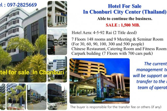 Hotel For Sale In Chonburi City Center